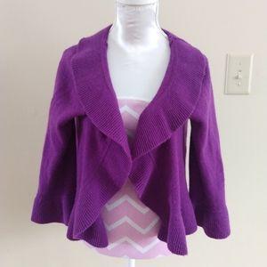 360 Cashmere Purple Cardigan, Size XS